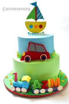 Whipped cream frosted transportation themed cake - Cake by Thasni mariyam wahid