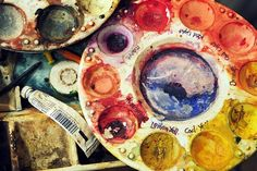 Watercolor painting...this looks exactly how it really looks when I'm painting!
