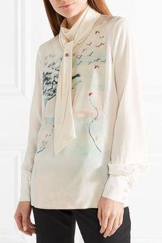 Lanvin - Silk-satin Trimmed Printed Silk-gerogette Blouse - Ivory