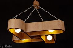 Hanging lamp with natural wood texture2, made of bent plywood