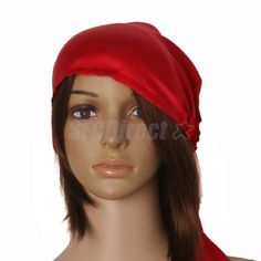 7aa821e774d 100% Silk Night Sleeping Cap Bow Bonnet Hat For Womens Hairstyle Favours  Red Bonnet Hat