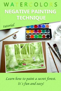 """""""Negative Painting Technique - Learn How to Draw and Paint a Secret Forest."""" Watercolor tutorial step by step - a mini art class for kids and adults, with easy watercolor techniques for beginners.  MORE COURSES ON UDEMY. Here's a UDEMY COUPON with 84% discount: https://www.udemy.com/dreamy-stories-told-with-paint/?couponCode=DREAMY_15"""