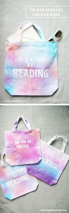 tie dye sprayed canvas bags