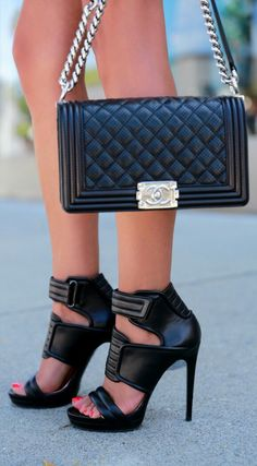 """Barbara Bui Leather Biker Sandals + Chanel Boy Flap Bag """