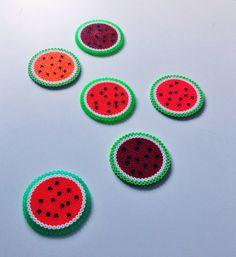Tranches de melon en perles Hama // Watermelon coasters hama perler by saraseir