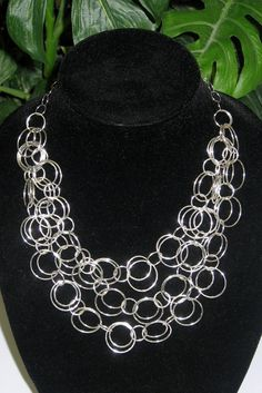 Silver Waterfall Necklace - Bib Necklace - Statement Necklace. $64.00, via Etsy.