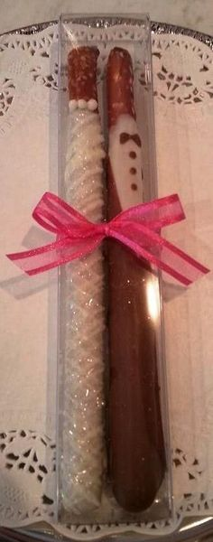 Bride and Groom Chocolate Covered Pretzels, wedding favors, shower favors, cleveland, ohio
