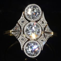Antique Edwardian 3 Stone Diamond Ring in 18k Gold and Platinum, 1.6ctw c. 1910 .........!!!!....I'm speechless! wOw!