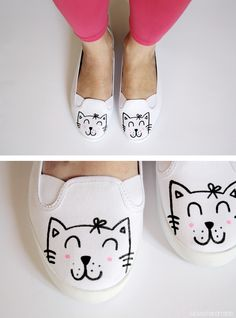 to easily make kitty shoes. How to easily make kitty shoes via Luloveshandmad.How to easily make kitty shoes via Luloveshandmad. Painted Sneakers, Hand Painted Shoes, Sharpie Shoes, Cat Shoes, Shoe Crafts, Do It Yourself Fashion, Shoe Art, Diy Clothing, Diy Fashion