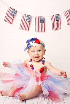 child portrait flag united states america girl baby 9 months nine tutu 4th of July Fourth banner feather headband necklace USA holiday   https://www.facebook.com/anneschillingsphotography http://www.thehairbowcompany.com @TheHairBowCo