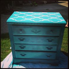 DIY furniture, DIY repaint furniture ideas  This was a quick project for my niece. I had the chest of drawers already and she wanted something for her closet so I spray painted this with a pretty blue krylon. I even spray painted right over the ugly knobs. I normally would chalk paint it but not for a closet. Then I went over the top with a large stencil and spray painted it white and voila!