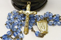 Vintage Rosary Blue Glass beads Saint Anne Du by SalvageRelics, $26.00