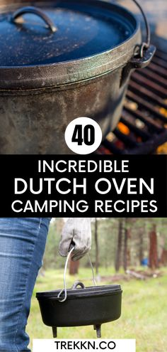 If you're looking for a fun way to feed your family while enjoying the great outdoors on a camping trip, these 40 insanely tasty dutch oven camping recipes are for you. Does the idea of cooking over the fire in a dutch oven intimidate you? If it does, let me tell you, it shouldn't. This is one of the easiest ways to whip up a meal or dessert for your family. Whether you're RVing or roughing it in a tent, cooking in a dutch oven over a fire is a must-try! #dutchoven #camping #recipes