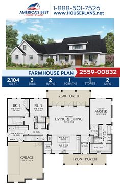 Plan 2559-00832 delivers a 1-story Farmhouse with 2,104 sq. ft., 3 bedrooms, 2.5 bathrooms, split bedrooms, an open floor plan, a bonus room, and a 2 car garage. #farmhouse #architecture #houseplans #housedesign #homedesign #homedesigns #architecturalplans #newconstruction #floorplans #dreamhome #dreamhouseplans #abhouseplans #besthouseplans #newhome #newhouse #homesweethome #buildingahome #buildahome #residentialplans #residentialhome 3 Bedroom Home Floor Plans, Three Bedroom House Plan, Open Floor House Plans, Lake House Plans, House Plans One Story, Ranch House Plans, Best House Plans, Dream House Plans, Home Building Plans