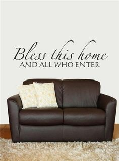 Amazon.com: Design with Vinyl Design 183 Bless this Home, and All Who Enter Welcome Sign Inspirational Scripture Bible Quote Vinyl Wall Decal, Black: Home Improvement