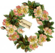 Vintage Wild Rose Floral Wreath Image