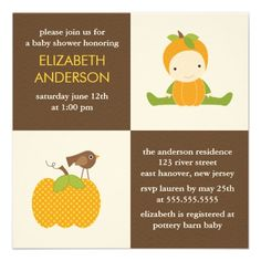 Cute baby shower invitations featuring an illustration of a baby, pumpkin and bird | Created by heartlocked