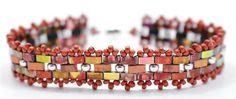 Retrouvez les perles en verre Perles & Co ici : http://www.perlesandco.com/Czechmates_Bricks_2_trous_6_mm_Azurite_Halo_x50-p-62533.html  Mosaic bands bracelet pattern