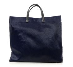 navy haircalf simple tote by clare vivier