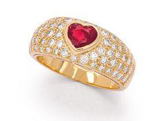 A Ruby and Diamond Heart Ring, Bulgari