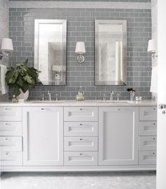 Cool refreshing blues in the master bath of Georgian Dream by Heather Garrett Design. #interiordesign #design #HGID #home #house #interior #decor #decorate #contemporary #traditional #bathroom #bath