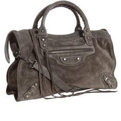 Balenciaga Grey Suede 'City' Convertible Satchel. My new bag!!!!