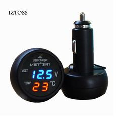 1200+Orders:Price$4.64  IZTOSS 3 in 1 Digital LED car Voltmeter Thermometer Auto Car USB Charger 12V/24V Temperature Meter Voltmeter Cigarette Lighter