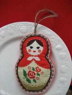 Nesting Doll -  Russian Matryoshka - Babushka - Hand Embroidered Felt and Fabric Christmas Ornament