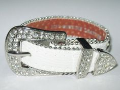 DAZZLING BLING RHINESTONE Belt Buckle Western Cowgirl Bracelet Genuine Leather #Unbranded #Buckle