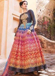 Multicolor Embroidery Work Banglori Silk Georgette Designer Print Anarkali Suit http://www.angelnx.com/Salwar-Kameez/Anarkali-Suits