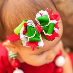 Christmas Baby Headband Green Biggie Dot Baby Bow by KinleyKate