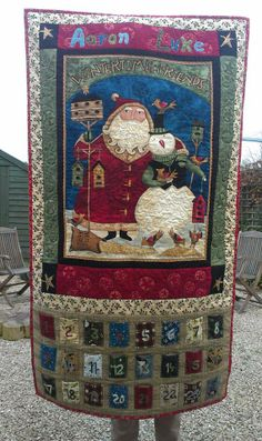 Aaron and Luke's quilted Christmas Advent Calendar wall hanging all finished!