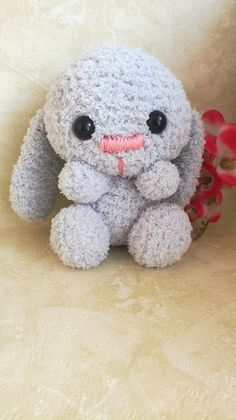 Crochet Bunny, Crochet Animals, Fluffy Bunny, Collor, Hello Kitty, Rabbit, Plush, Teddy Bear, Etsy Shop