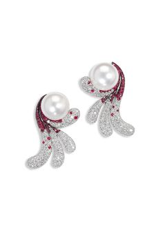 De Grisogono Creole High Jewellery Earrings in White Gold, set with White Diamonds, White Pearls and Rubies (£POA).
