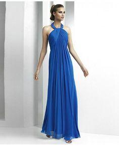 Ruched Chiffon Floor-length Halter A-line Evening Dress #Evening #Dresses