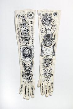 """""""Witch Milk"""" Hand painted vintage gloves by Ellen Greene 2012"""