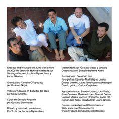 Canciones, de Puente Celeste. Booklet dorso. Diseño y realización Carlos Carpintero.