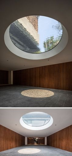 In the entrance to this home, there's a large skylight, that shows water from the water feature positioned directly above.