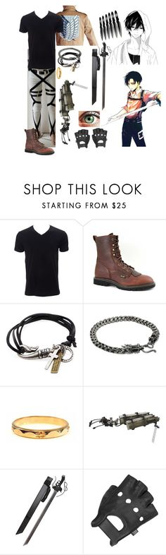 """Attack on Titan oc 4"" by gglloyd ❤ liked on Polyvore featuring Levi's, Simplex Apparel, AdTec, Degs & Sal, NOVICA, Wilsons Leather, men's fashion and menswear"