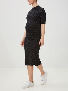 TURTLENECK MATERNITY DRESS, Dark Grey Melange