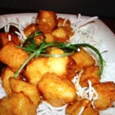 P.F. Changs Crispy Honey Chicken. I recommend just cornstarch and frying the chicken and only making half of the sauce.