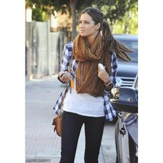 Blue and white flannel, white T-shirt, scarf, skinny jeans