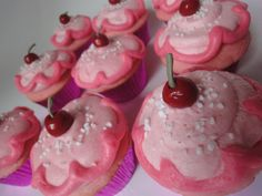 Pinkalicious cupcakes with fondant cherries