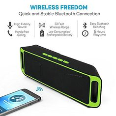 Indigi Great Gift Bluetooth 40 Portable Wireless Dual Speaker TF USB FM Radio Green -- Find out more about the great product at the image link.