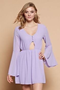 "- Color: Lilac - Bell Sleeved Dress - Button closure w/ Small cut-out design - Elastic Waistband - Materials: 100% Polyester - Measurements: - Small - Bust 36"" / Waist 34"" / Length 33"" - Medium - Bust"