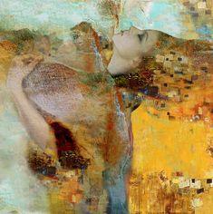 My Angel series - Digital Fine Art in oil painting style, by Maria Szollosi aka Mariska inspired by Klimt Figure Painting, Painting & Drawing, Surreal Art, Medium Art, Female Art, Female Faces, Figurative Art, Oeuvre D'art, Collage Art