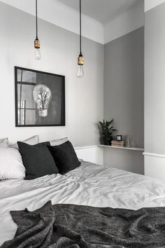 gray bedroom with pop of color 15 Bedroom Interior Design Ideas with Monochrome Themes For a More Elegant Look - Home Decor Bedroom Lamps Design, Monochrome Bedroom, Bedroom Interior, Minimalist Bedroom, Bedroom Design, Interior Design Bedroom, Home Decor, House Interior, Bedroom Color Schemes