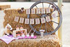 Giddy Up Cowgirl Theme Birthday Banner - Handmade. $24.00, via Etsy.