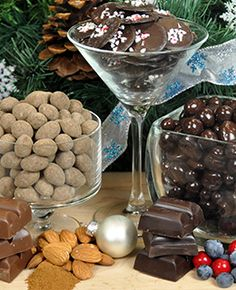 Dark Chocolate Peppemint Rounds, Dark or Milk Chocolate Cinnamon Dusted Almonds, and Dark Chocolate Fruit Collection.