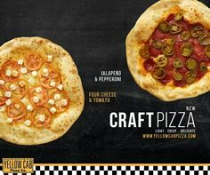 """Craft Pizza"" by Yellow Cab Pizza Barbecue Chicken Pizza, Fresh, Yellow, Craft, Breakfast, Hot, Morning Coffee, Barbeque Chicken Pizza, Creative Crafts"